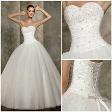 2015 New White Bride Bridesmaid Wedding Gown Prom Ball Dress stock Size 6-16