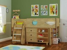 Ollie Cabin Bed Oak Effect Midsleeper Bed- Storage included - 2 FREE PILLOWS