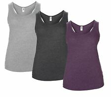 Womens Racer Back Tank Top Vest Summer Sleeveless Top Anvil Fashion Tri-Blend BN