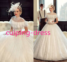 New Exquisite White Ivory Lace Wedding Dress High Collar Bridal Gown Gown Custom