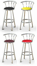 """FC47 COUNTER HEIGHT 24"""" TALL CHROME METAL SWIVEL BACKREST SEAT KITCHEN BARSTOOLS"""