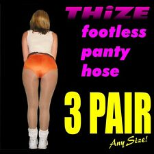 3 pair - Footless Panty Hose - Sheers Solids Athletic Hooters, Cheerleader Style