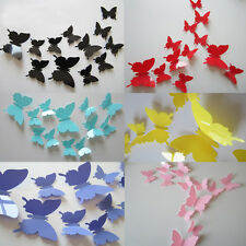 12Pcs DIY 3D Butterfly Art Decal Charm Decor Home Room Wall Sticker Decorations