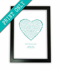 PERSONALISED FIRST DANCE song lyrics A4 PRINT heart wedding anniversary present