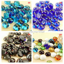 40+ Pcs Mixed Colors Round Flat Glass GEMS Mosaic Tiles Multicolour 100g