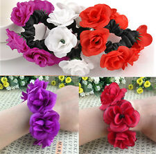 Cute Flower Bun Garland Floral Head Knot Hair Top Scrunchie Band Elastic Bridal