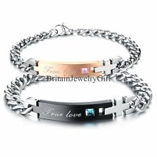 """His and Hers Lover Stainless Steel """"True Love"""" Chain Couple Cuff Bangle Bracelet"""
