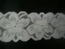 10 / 20 yards Pure White shiny Double scalloped stretch Lace trim, 2 7/8''w s3-4