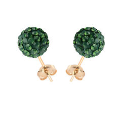 14K Yellow Gold Swarovski Elements Crystal Palace Green Opal Ball Stud Earring