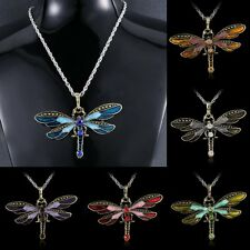 Fashion Dragonfly Necklace Leather Charm Rhinestone Crystal Pendant Jewelry gift
