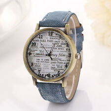 New Bronze Unisex Sports Watches Denim Watches Women Newspaper Design