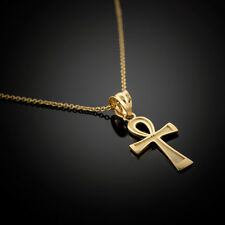 Solid Gold Egyptian Ankh Cross Charm Necklace