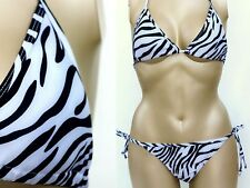 Women's African Safari Zebra Print Triangle Top String Bikini Swimsuit Swimwear