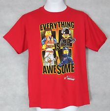 Lego Movie Boys T-Shirt Red Everything is Awesome New Officially Licensed