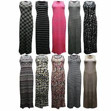 New Women Sleeveless Racer Muscle Back Flower Aztec Stripe Print Maxi Dress 6-12