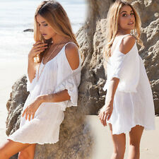 Woman Summer Beach Dress Swimwear Bikini Cover Up Off Shoulder Dress Shirt Tops