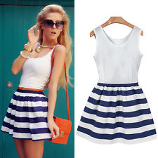 NEW Lady Scoop Neck Mini Dress Stripe Splicing Sundress Casual Beach Sleeveless