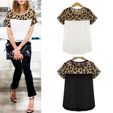 2015 Fashion Women Leopard Printing Chiffon Casual Tops T shirt Blouse Plus Size