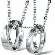"""His and Hers Stainless Steel """"Eternal Love"""" Promise Rings Pendant Chain Necklace"""