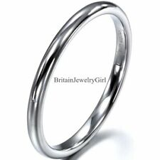 2mm High Polished Mens Womens Unisex Engagement Wedding Tungsten Ring Size 4-9