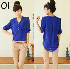 Women Sexy Fashion Casual Chiffon Blouse Long Sleeve Shirt T-shirt Summer Tops