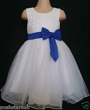 Royal Blue White Flower Girl Bridesmaid Communion Prom Wedding Party Dress 2-13y