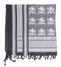 ARMY MILITARY SAS RETRO DESERT COTTON SHEMAGH ARAB SCARF WITH SKULLS