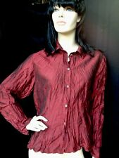 CLICK by Color Me Cotton Maroon 100% Silk blouse! Multiple Sizes!!! USA made!