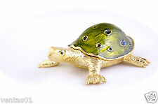 Jewelry Enameled Golden Turtle trinket box with Green Shell crystal design