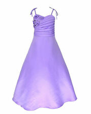 L6002 Satin Lilac Party Pageant Occasion/Flower Girl Dress Sz 4 to 14 Yrs