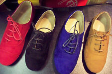 Womens Suede Like Oxford Lace Ups Ballet Flat Loafers Solid Comfort Shoes