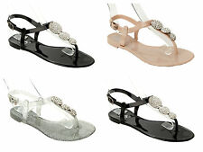GIRLS DIAMANTE JELLY SUMMER BEACH HOLIDAY FLAT SANDALS SHOES KIDS SIZE 12-4