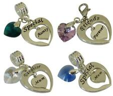 Personalised Charm & SWAROVSKI Element HEART For Charm Bracelets BAIL Or Clip
