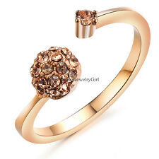 Womens Ball Cuff CZ Gold Tone Stainless Steel Promise Ring Band Jewelry Size 5-8
