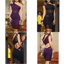 Purple Black Party Clubbing One Shoulder Dress With Mesh Inserts One Size UK8-10