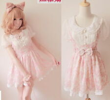 Japan Fashion Kawaii Princess Cute Sweet Dolly BOW Lace Chiffon Floral Dress