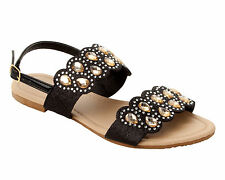WOMENS BLACK GLITTER DIAMANTE PARTY SUMMER HOLIDAY SANDALS LADIES UK SIZE 3-8