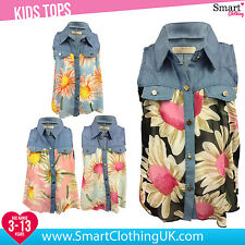 NEW Girls Floral Vest Top Chiffon Collar Cute Summer Age 3 4 5 6 7 8 9 11 12 13