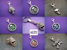 PICK YOUR CHARM Clip On Silver Skull Skulls Pirate Gothic ~ Charm or KeyChain