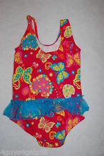 Toddler Girls Swim Suit ONE PIECE Pink HEARTS 12 Mo 18 Mo 24 Mo 2T 3T 4T Ruffle