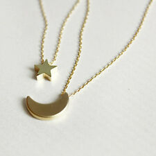 Fashion Women Lady Double Chain Moon Star Pendant Charm Silver Gold Necklace