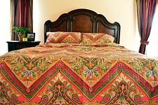 Tache New 3 Piece Red Spring Paisley Floral Hanging Gardens Bedspread Quilt Set