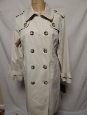 London Fog Petite Double Breasted Trench Coat PL Twine   New w/ Defects