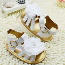 Toddler infant Baby Princess Girls White Flowers Sandals Shoes  Size 0-18 Months