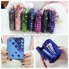 New Girls Women Leather Wallet Gradient weave Purse Mini Lady Short Handbag