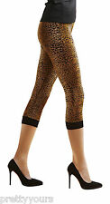 Womens Opaque Leopard Animal Print Leggings Finished with Elastic Welt 60 Denier