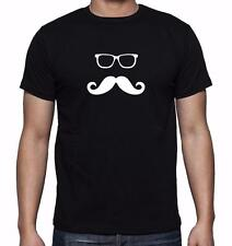 NEW MENS PRINTED GLASSES MUSTACH GRAPHIS DESIGN FUNNY HIPSTER T-SHRIT ALL SIZE