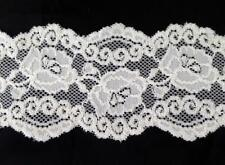 "2 /10  yards  white Stretch floral 3 D double scalloped lace trim 2 3/4"" s6-2"
