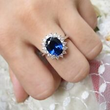 Princess Diana Ring Solid Silver Sapphire and Created Diamond BRAND NEW FREE BOX