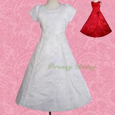 Beads Embroidery Bolero Wedding Flower Girl Bridesmaid Party Dress Sz 2-10 #134J